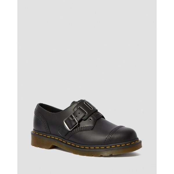 Black Friday Sale Dr. Martens 1461 QUYNN SMOOTH LEATHER BUCKLE SHOES - BLACK SMOOTH