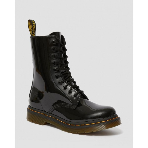 Dr.Martens 1490 WOMEN'S PATENT LEATHER MID CALF BOOTS - BLACK PATENT LAMPER - Sale