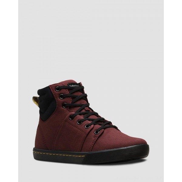 Dr.Martens ROZARYA WOMEN'S CANVAS CASUAL BOOTS - OLD OXBLOOD+BLACK CANVAS+FINE CANVAS - Sale