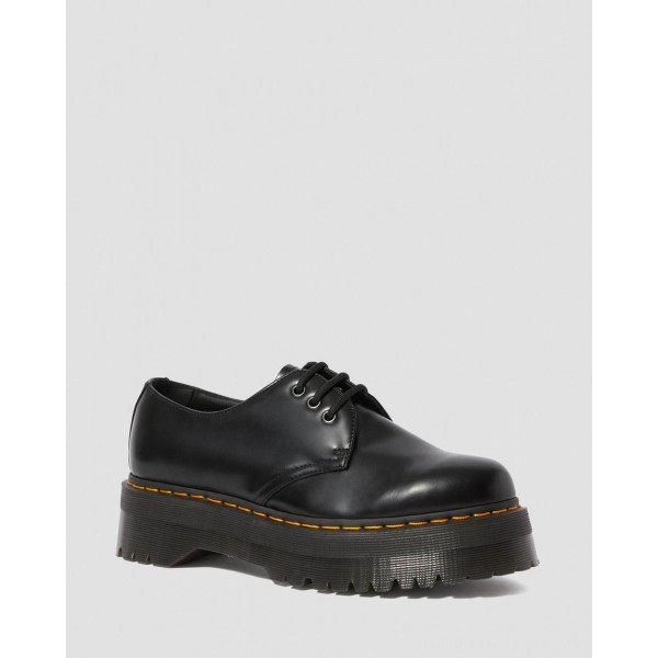 Dr.Martens 1461 SMOOTH LEATHER PLATFORM SHOES - BLACK POLISHED SMOOTH - Sale