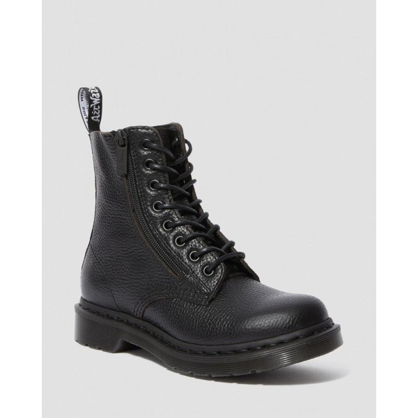 Black Friday Sale Dr. Martens 1460 PASCAL WOMEN'S LEATHER ZIPPER LACE UP BOOTS - BLACK AUNT SALLY