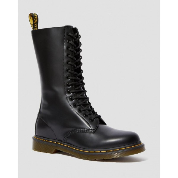 Black Friday Sale Dr. Martens 1914 SMOOTH LEATHER TALL BOOTS - BLACK SMOOTH