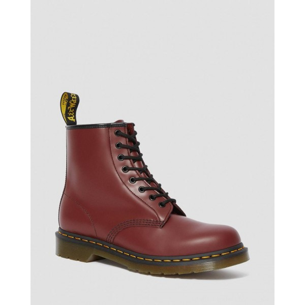 Black Friday Sale Dr. Martens 1460 SMOOTH LEATHER LACE UP BOOTS - CHERRY RED SMOOTH