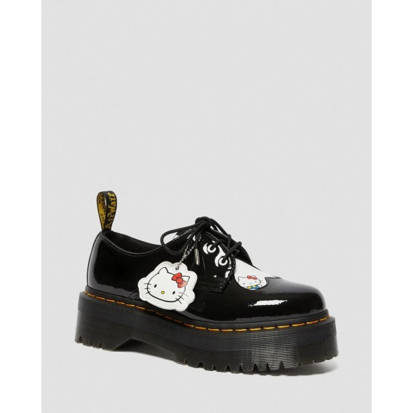 Black Friday Sale Dr. Martens 1461 WOMEN'S HELLO KITTY PLATFORM SHOES - BLACK-WHITE PATENT LAMPER-HYDRO LEATHER