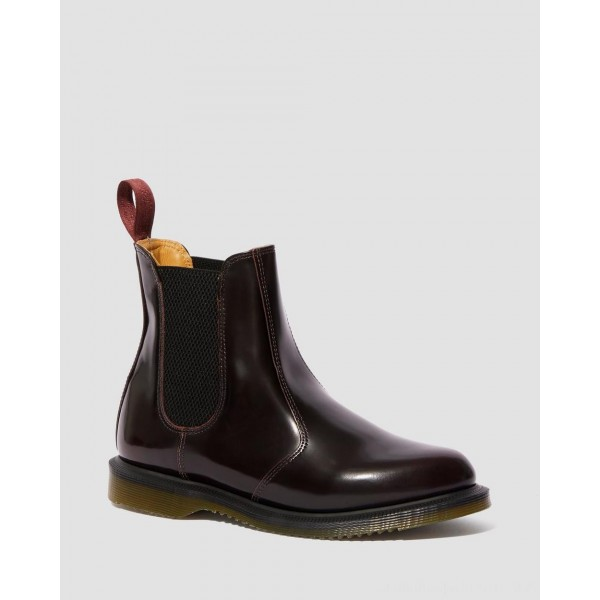 Dr.Martens FLORA WOMEN'S ARCADIA LEATHER CHELSEA BOOTS - CHERRY RED ARCADIA - Sale