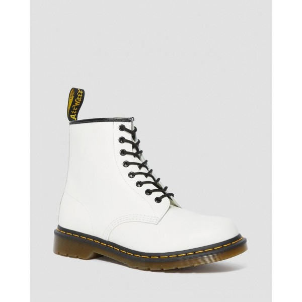 Black Friday Sale Dr. Martens 1460 SMOOTH LEATHER LACE UP BOOTS - WHITE SMOOTH