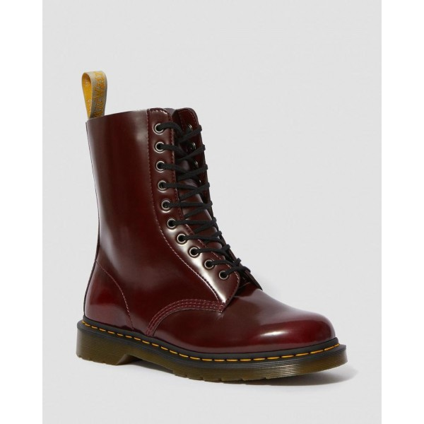 Black Friday Sale Dr. Martens VEGAN 1490 MID CALF BOOTS - CHERRY RED OXFORD RUB OFF