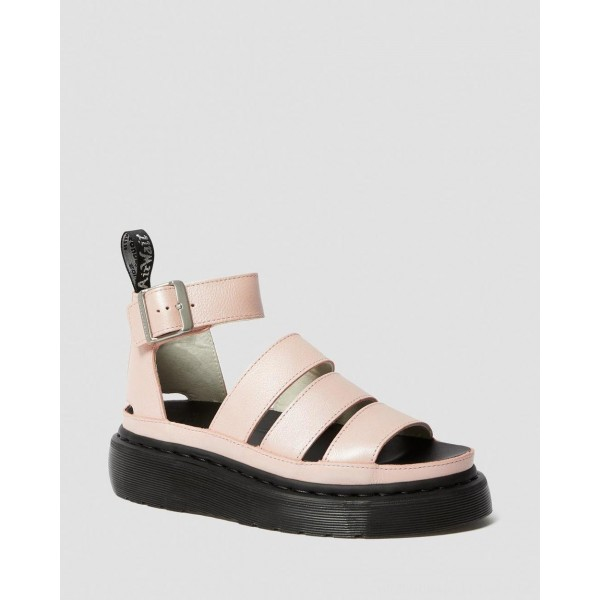 Dr.Martens CLARISSA II METALLIC LEATHER PLATFORM SANDALS - PINK SALT METALLIC PISA - Sale