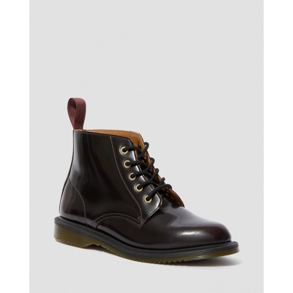Dr.Martens EMMELINE ARCADIA LEATHER LACE UP ANKLE BOOTS - CHERRY RED ARCADIA - Sale