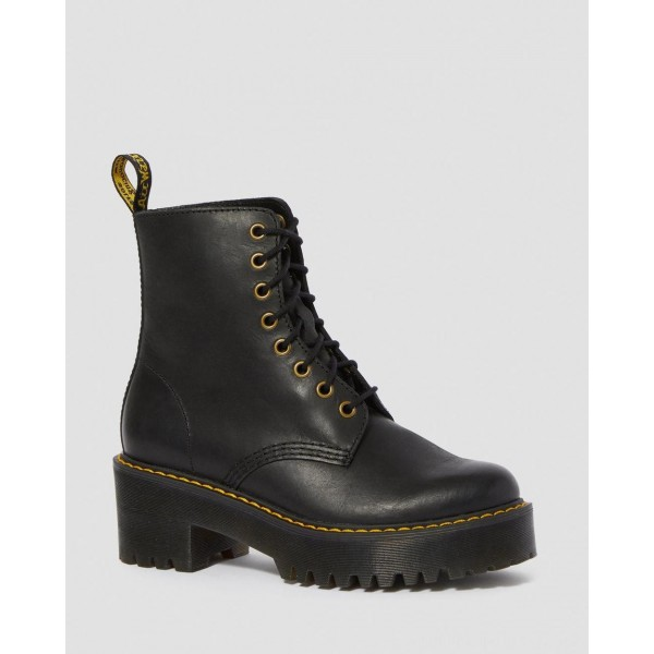 Black Friday Sale Dr. Martens SHRIVER HI WOMEN'S WYOMING LEATHER HEELED BOOTS - BLACK BURNISHED WYOMING