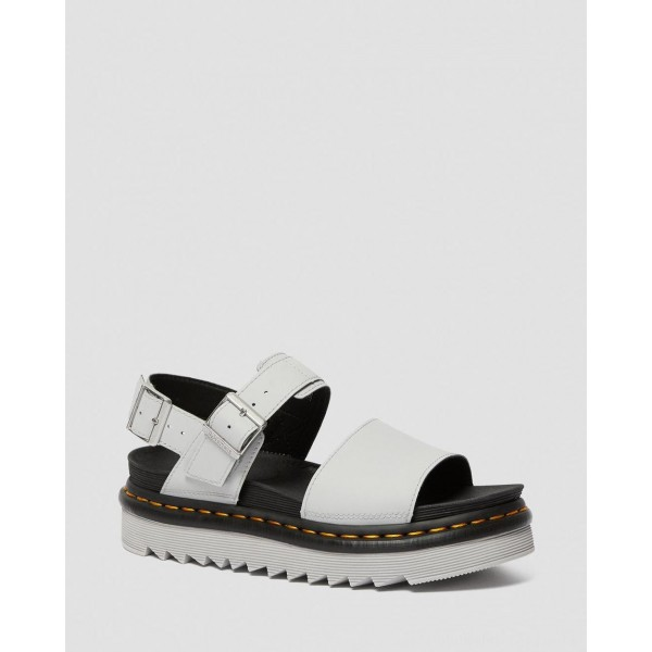 Dr.Martens VOSS WOMEN'S LIGHT LEATHER STRAP SANDALS - LIGHT GREY HYDRO LEATHER - Sale