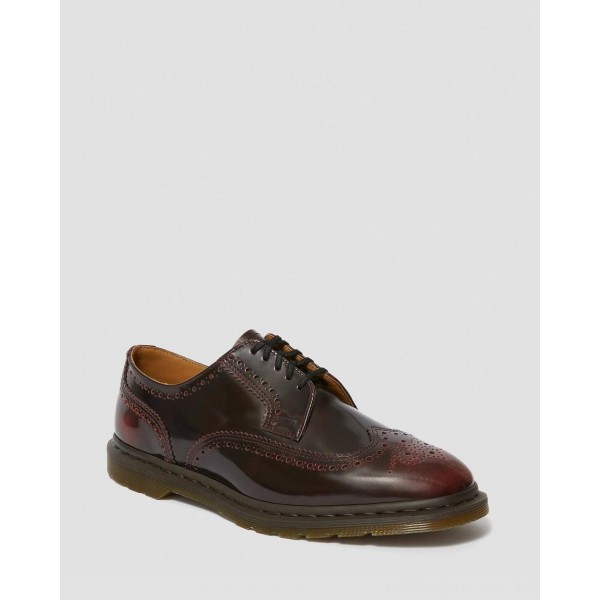 Dr.Martens KELVIN II ARCADIA LEATHER BROGUE SHOES - CHERRY RED ARCADIA - Sale