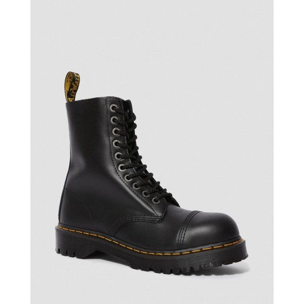 Black Friday Sale Dr. Martens 8761 BXB LEATHER MID CALF BOOTS - BLACK FINE HAIRCELL