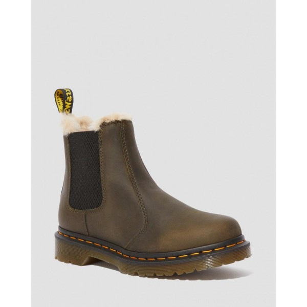 Black Friday Sale Dr. Martens 2976 WOMEN'S FAUX FUR LINED CHELSEA BOOTS - DMS OLIVE BURNISHED WYOMING