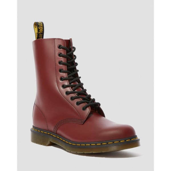 Black Friday Sale Dr. Martens 1490 SMOOTH LEATHER MID CALF BOOTS - CHERRY RED SMOOTH