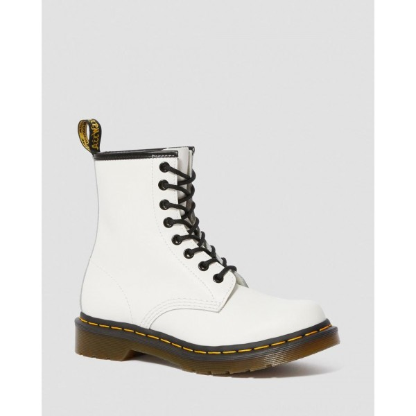 Black Friday Sale Dr. Martens 1460 WOMEN'S SMOOTH LEATHER LACE UP BOOTS - WHITE SMOOTH
