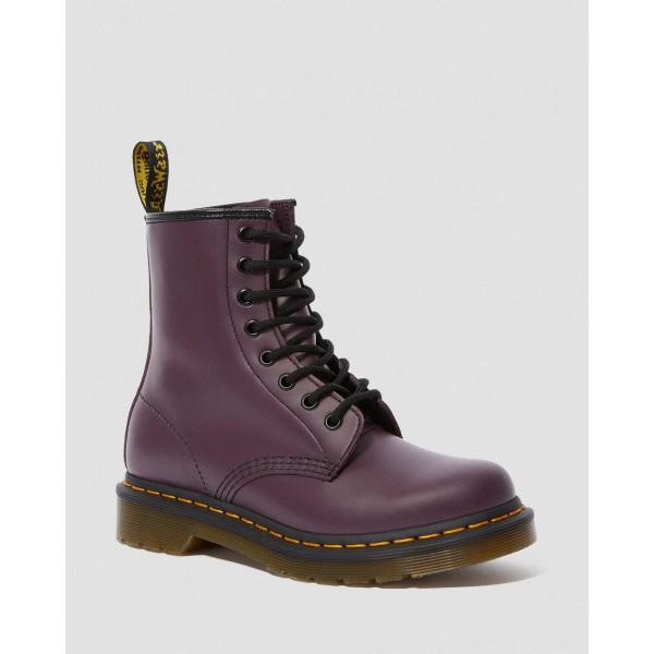 Black Friday Sale Dr. Martens 1460 WOMEN'S SMOOTH LEATHER LACE UP BOOTS - PURPLE SMOOTH