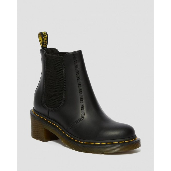 CADENCE SMOOTH LEATHER HEELED CHELSEA BOOTS - BLACK SMOOTH