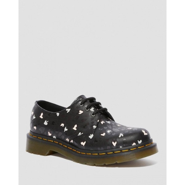 Black Friday Sale Dr. Martens 1461 LEATHER WILD HEART PRINTED OXFORD SHOES - BLACK-MULTI CUSTOM CHAOS HEARTS BACKHAND