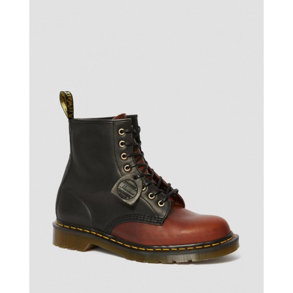 Black Friday Sale Dr. Martens 1460 MADE IN ENGLAND HORWEEN LEATHER BOOTS - BLACK+MOCHA DUBLIN