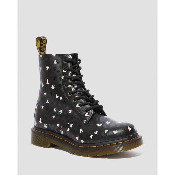 Black Friday Sale Dr. Martens 1460 PASCAL LEATHER WILD HEART PRINTED LACE UP BOOTS - BLACK-MULTI CUSTOM CHAOS HEARTS BACKHAND
