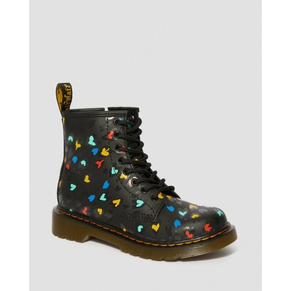 Black Friday Sale Dr. Martens JUNIOR 1460 WILD HEART PRINT LACE UP BOOTS - BLACK-MULTI HYDRO LEATHER