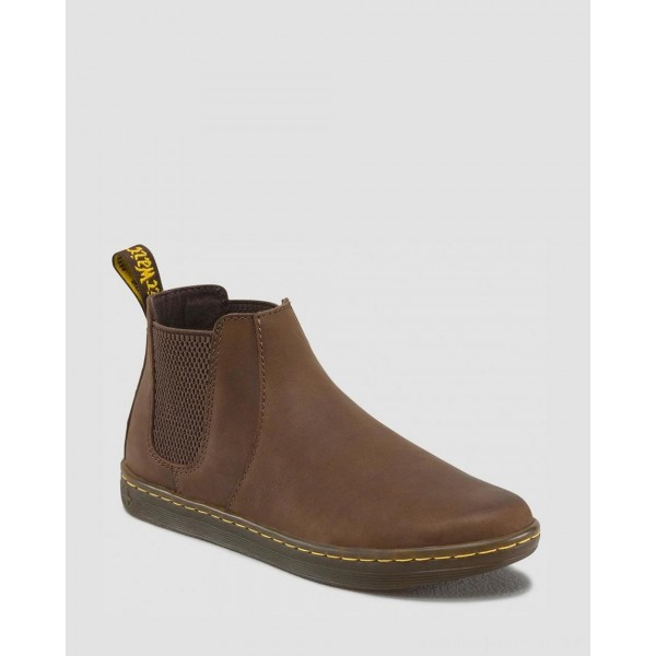 Black Friday Sale Dr. Martens KATYA WOMEN'S LEATHER CASUAL CHELSEA BOOTS - DARK BROWN WYOMING