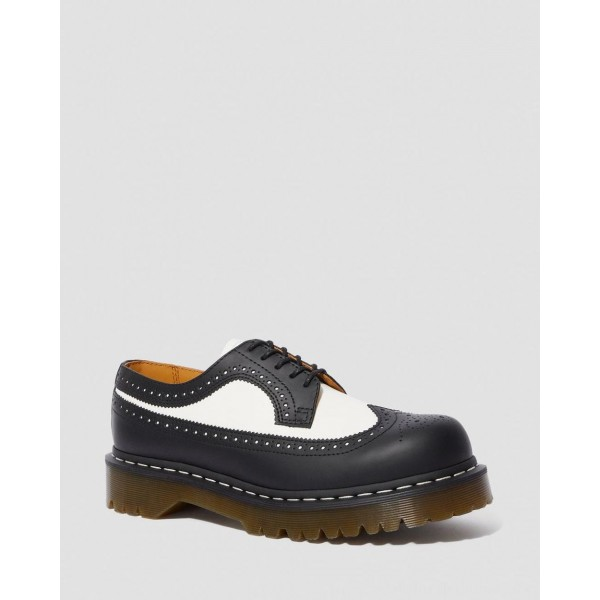Black Friday Sale Dr. Martens 3989 BEX SMOOTH LEATHER BROGUE SHOES - BLACK+WHITE SMOOTH