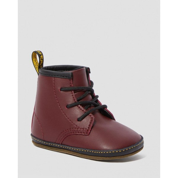 Dr.Martens NEWBORN 1460 AUBURN LEATHER BOOTIES - Red LAMPER - Sale