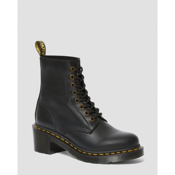 CLEMENCY WOMEN'S LEATHER HEELED LACE UP BOOTS - BLACK WANAMA