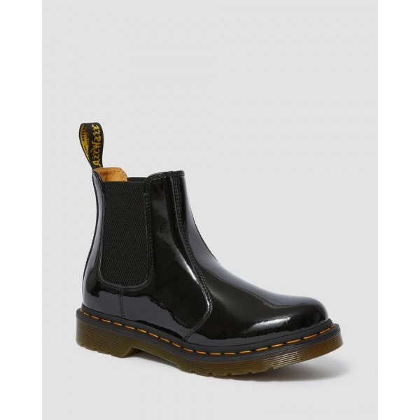 Dr.Martens 2976 WOMEN'S PATENT LEATHER CHELSEA BOOTS - BLACK PATENT LAMPER - Sale