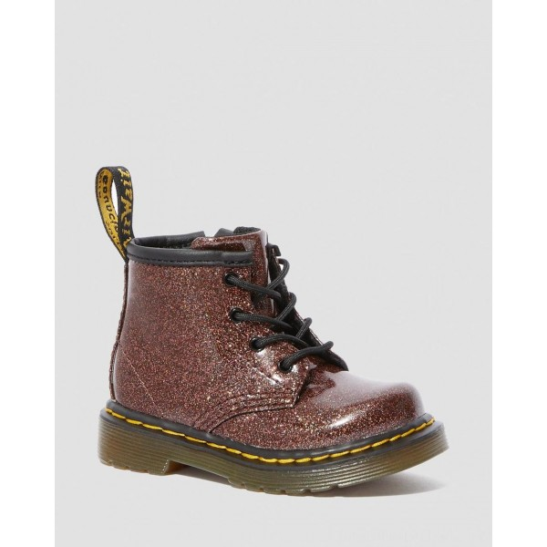 INFANT 1460 GLITTER LACE UP BOOTS - ROSE BROWN COATED GLITTER