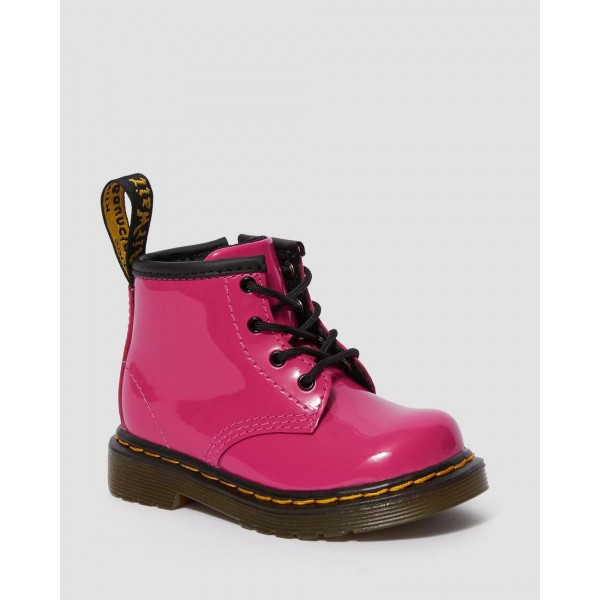 Dr.Martens INFANT 1460 PATENT LEATHER LACE UP BOOTS - HOT PINK PATENT LAMPER - Sale
