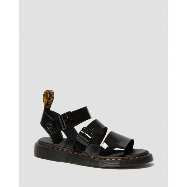 GRYPHON PATENT LEATHER GLADIATOR SANDALS - BLACK PATENT LAMPER