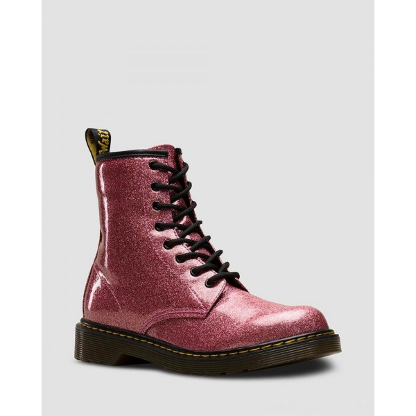 Dr.Martens YOUTH 1460 GLITTER LACE UP BOOTS - PINK COATED GLITTER - Sale