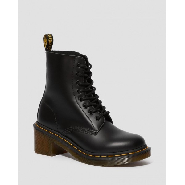 Black Friday Sale Dr. Martens CLEMENCY WOMEN'S SMOOTH LEATHER HEELED LACE UP BOOTS - BLACK SMOOTH