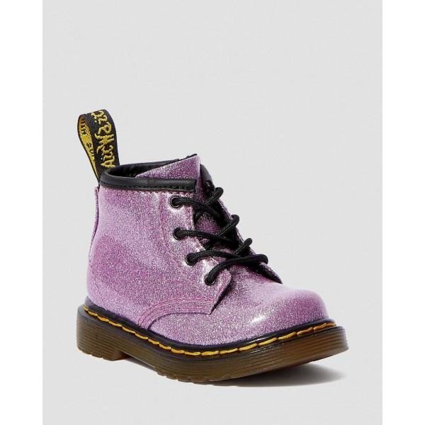 Dr.Martens INFANT 1460 GLITTER LACE UP BOOTS - DARK PINK COATED GLITTER - Sale