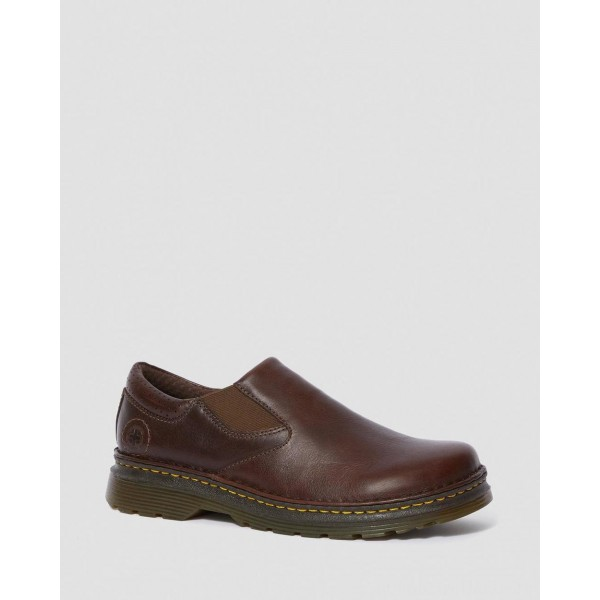ORSON MEN'S LEATHER SLIP ON SHOES - DARK BROWN OVERDRIVE