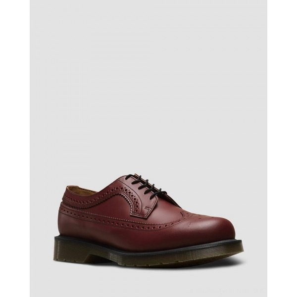 3989 SMOOTH LEATHER BROGUE SHOES - CHERRY RED SMOOTH