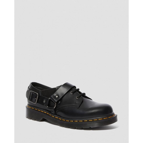 Dr.Martens FULMAR SMOOTH LEATHER BUCKLE SHOES - BLACK POLISHED SMOOTH - Sale