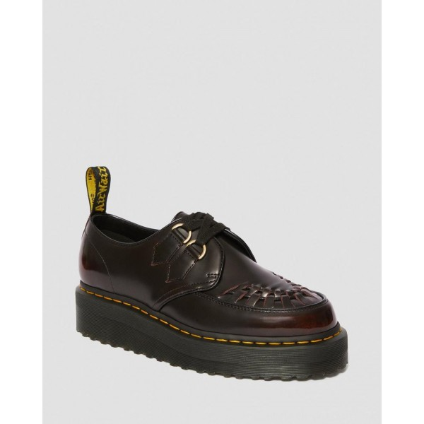 Dr.Martens SIDNEY ARCADIA LEATHER CREEPER PLATFORM SHOES - CHERRY RED ARCADIA - Sale