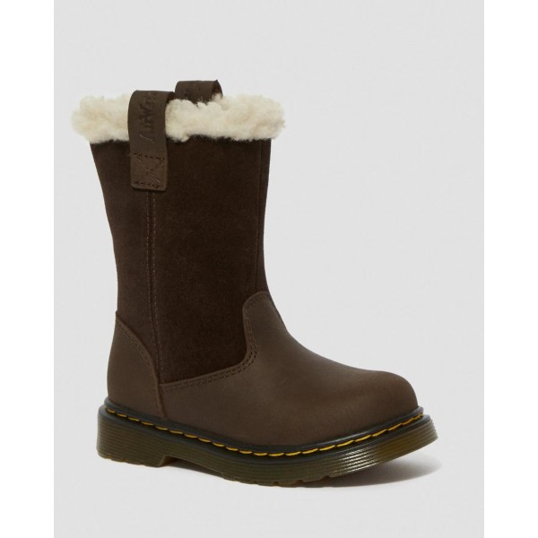 TODDLER JUNEY SUEDE FAUX FUR LINED BOOTS - DARK BROWN REPUBLIC WP+HI SUEDE WP