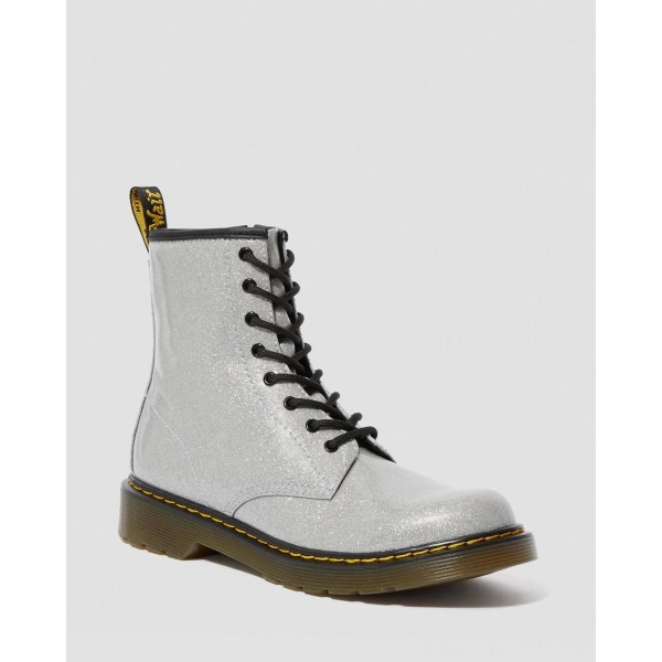 Dr.Martens YOUTH 1460 GLITTER LACE UP BOOTS - SILVER COATED GLITTER - Sale