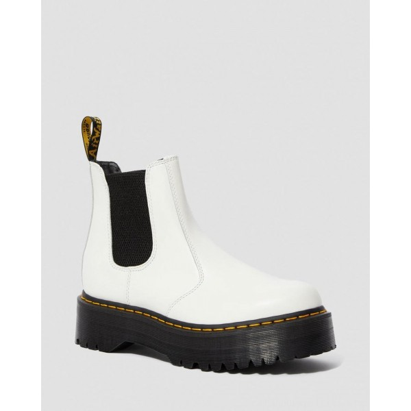 Black Friday Sale Dr. Martens 2976 SMOOTH LEATHER PLATFORM CHELSEA BOOTS - WHITE SMOOTH