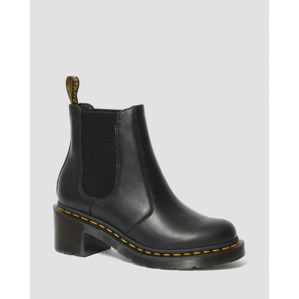 Dr.Martens CADENCE WOMEN'S LEATHER HEELED CHELSEA BOOTS - BLACK WANAMA - Sale