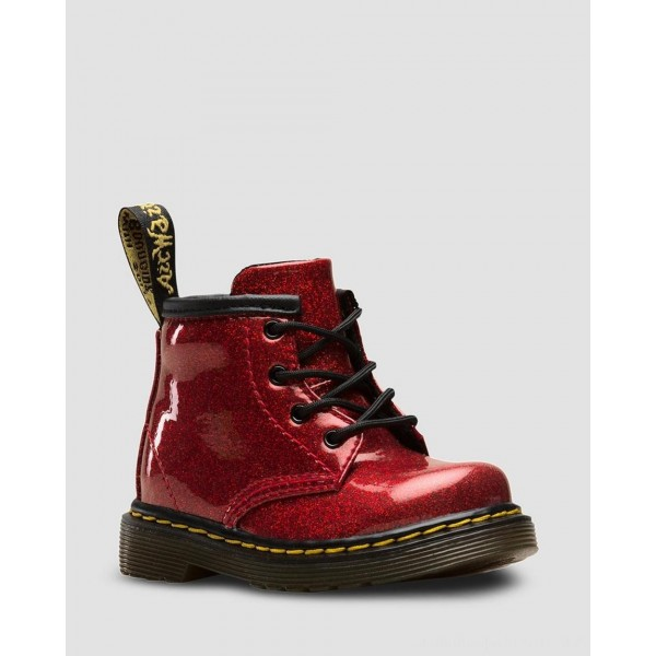 INFANT 1460 GLITTER LACE UP BOOTS - RED COATED GLITTER