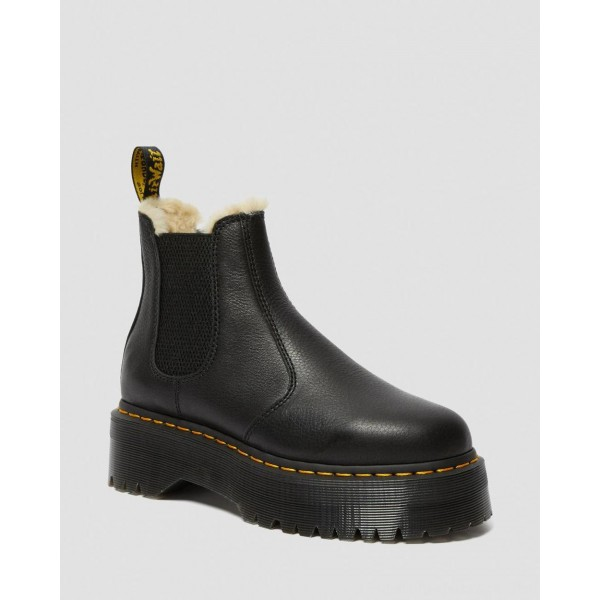 Black Friday Sale Dr. Martens 2976 FAUX FUR LINED PLATFORM CHELSEA BOOTS - BLACK PISA