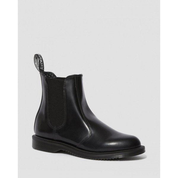 Black Friday Sale Dr. Martens FLORA WOMEN'S SMOOTH LEATHER CHELSEA BOOTS - BLACK POLISHED SMOOTH