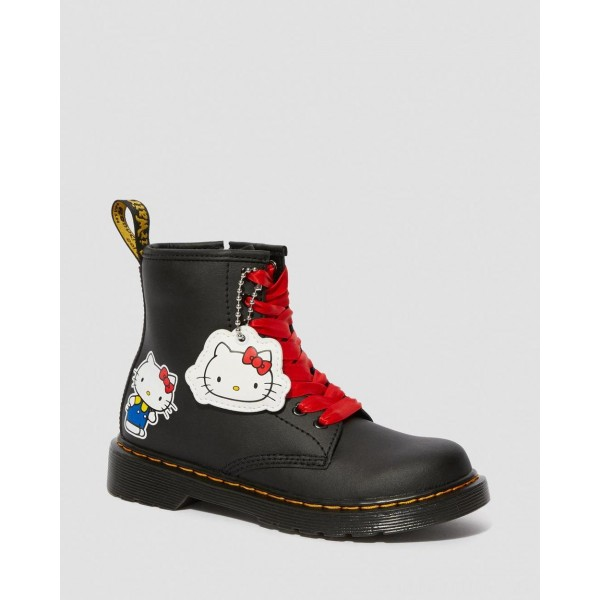 JUNIOR 1460 HELLO KITTY LEATHER BOOTS - BLACK HYDRO LEATHER