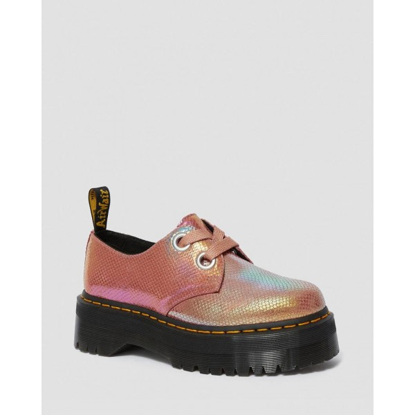 Dr.Martens HOLLY WOMEN'S IRIDESCENT LEATHER PLATFORM SHOES - PINK IRIDESCENT - Sale